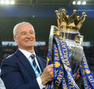 Claudio Ranieri Lifting Premier League Trophy - Next Leicester City Manager ladbrokes